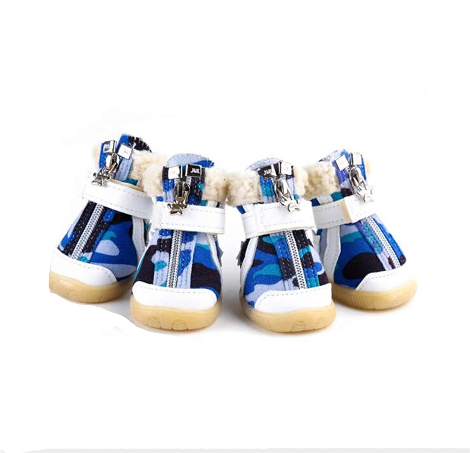 B 4 B 4 Dog shoes,Snow Boots Autumn and Winter Puppy Poodle Bichon Frise Thick Plush Star Decoration Warm and Comfortable