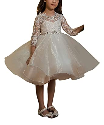 747371518c4 Graceprom Girls Lace Appliques Ball Gown Long Sleeves Flower Girl Dresses  for Wedding Toddler Pageant Dresses