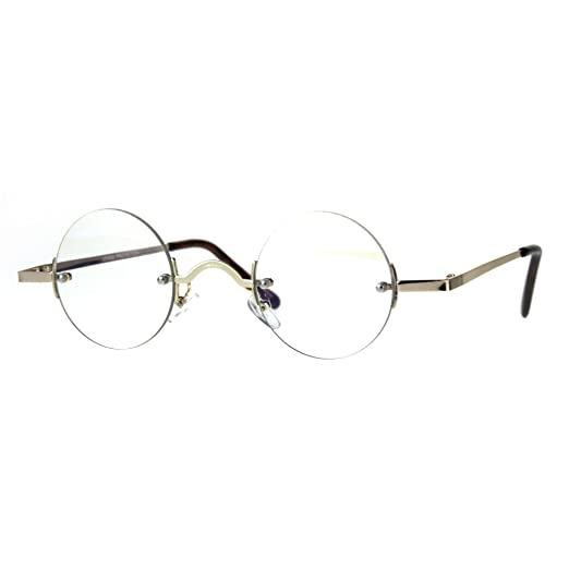 e24a5d7de8b Small Round Circle Clear Lens Rimless Glasses Wide Frame Narrow Lens Gold