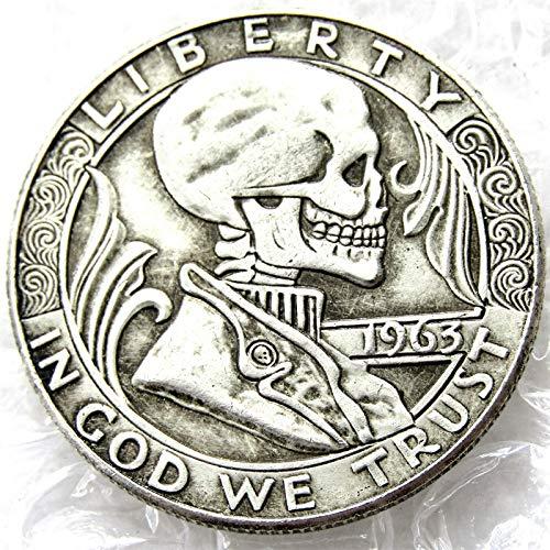 suiwoyou Hobo Coin 1963 Franklin Half Dollar Skull Zombie Skeleton Hand Carved Hobo Nickel Funny Coins