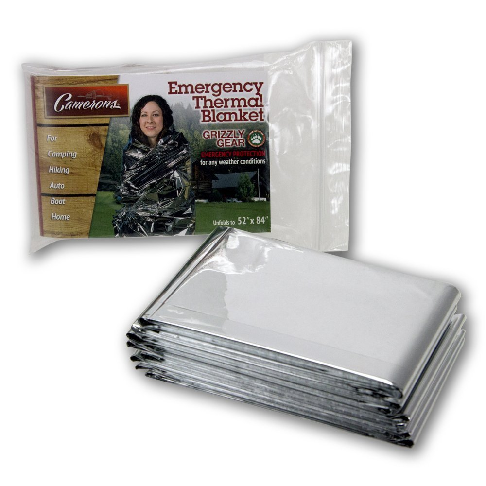 Emergency Thermal Blankets (4 Pack) - Grizzly Gear - Folds to 52' X 84' SCS Direct