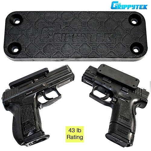 GrippyTek Magnetic Gun Mount & Holster For Vehicle And Home | Rubber Coated 43 LBS Rated - Firearm Accessory. Concealed Holder For Handgun, Shotgun, Rifle, Pistol, Revolver, Car, Truck, Wall,Desk