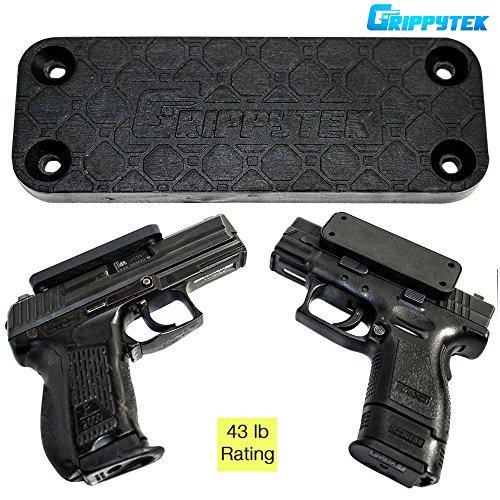 GrippyTek Magnetic Gun Mount & Holster For Vehicle And Home | Rubber Coated 43 LBS Rated - Firearm Accessory. Concealed Holder For Handgun, Shotgun, Rifle, Pistol, Revolver, Car, Truck, Wall,Desk