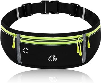 Running Belt for Women Men with 4-Zipper Pockets, Waterproof Fanny Pack Waist Bag Pack for Hiking Fitness Traveling, Adjustable Running Phone Holder for All Phones