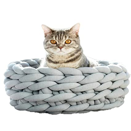 Amazoncom Light Grey Chunky Knit Dog Bed 14inch Cotton Dog Bed