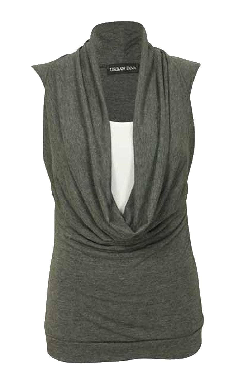 New Womens Plus Size Cowl Neck Insert Vest Sleeveless Tops 12-22