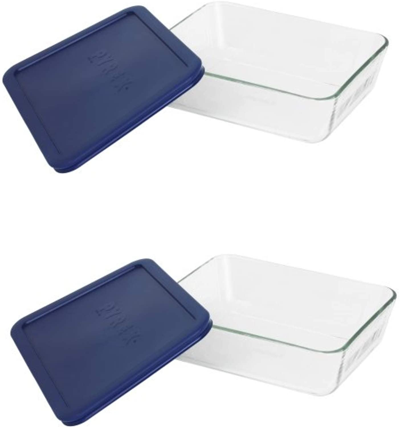Pyrex Simply Store 6-Cup Rectangular Glass Food Storage Dish,Blue (2 Pack)