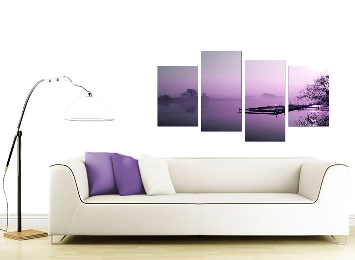 Large Purple Landscape Bedroom Canvas Wall Art Pictures Set