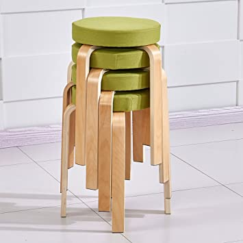 Charmant Ospi Set Of 4 BentWood Stacking Stools With Padded Seat, 17 Inch Home  Furniture Decor