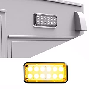 Alpha-Z 7x3 Ambulance LED Surface Mount Emergency Strobe Lights and Fire Truck Ultra Slim Warning Light - Amber/Amber