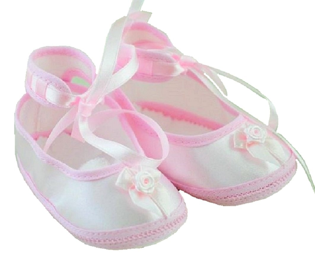 Baby Schuhe Babyschuhe Ballerina Rosa Taufe Hochzeit  Sommer Gr 19-20