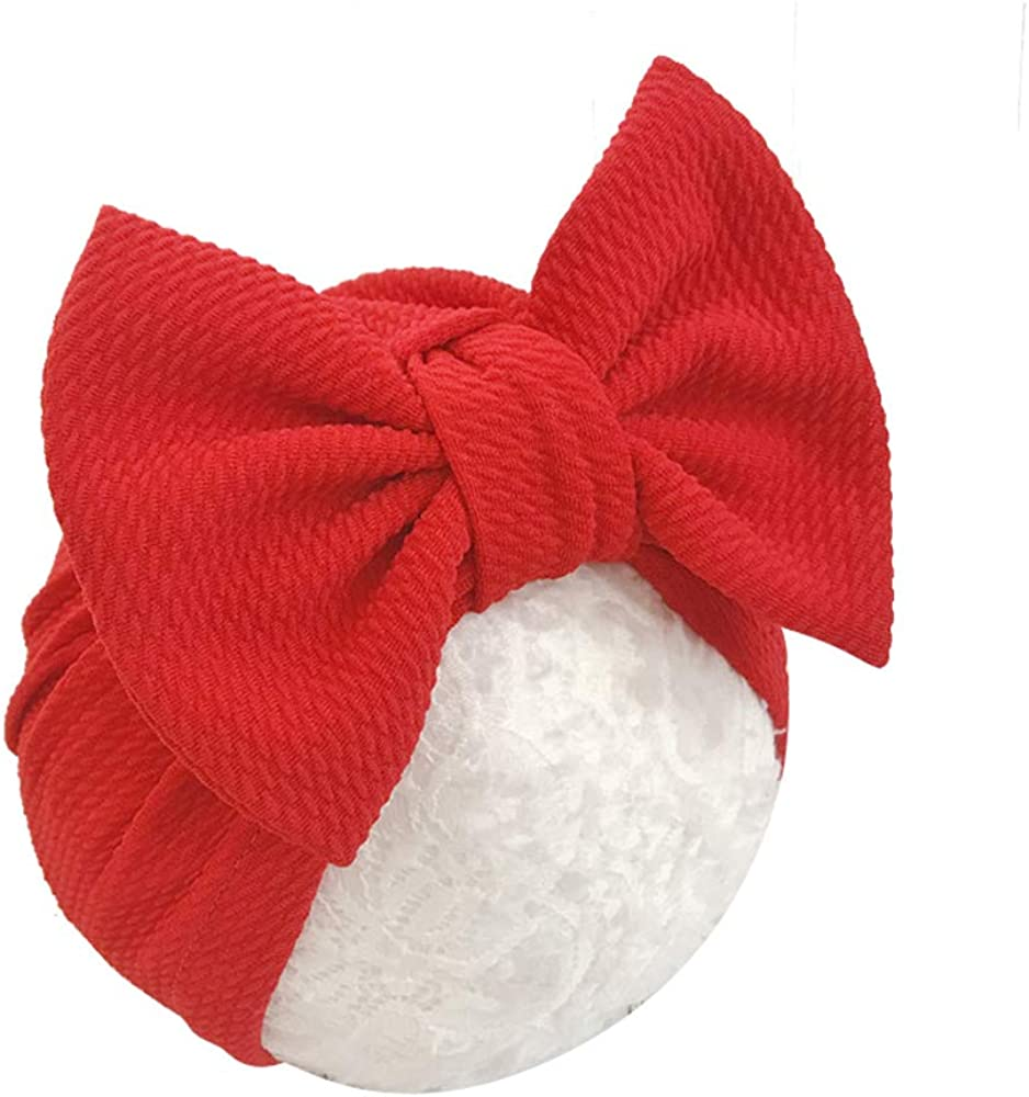 HUIXIANG Newborn Baby Hospital Hat Soft Cotton Toddler Kids Girl Head Wrap with Big Bow Cap