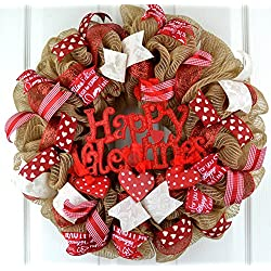 Valentine's Day Mesh Door Wreath; Red Burlap Jute