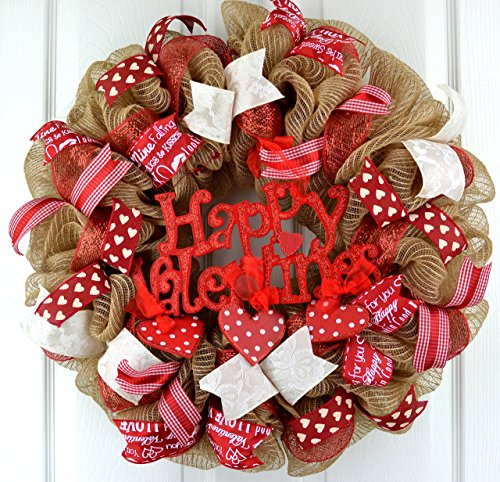 Valentine's Day Mesh Door Wreath; Red Burlap - Outside Wreaths Valentines Day
