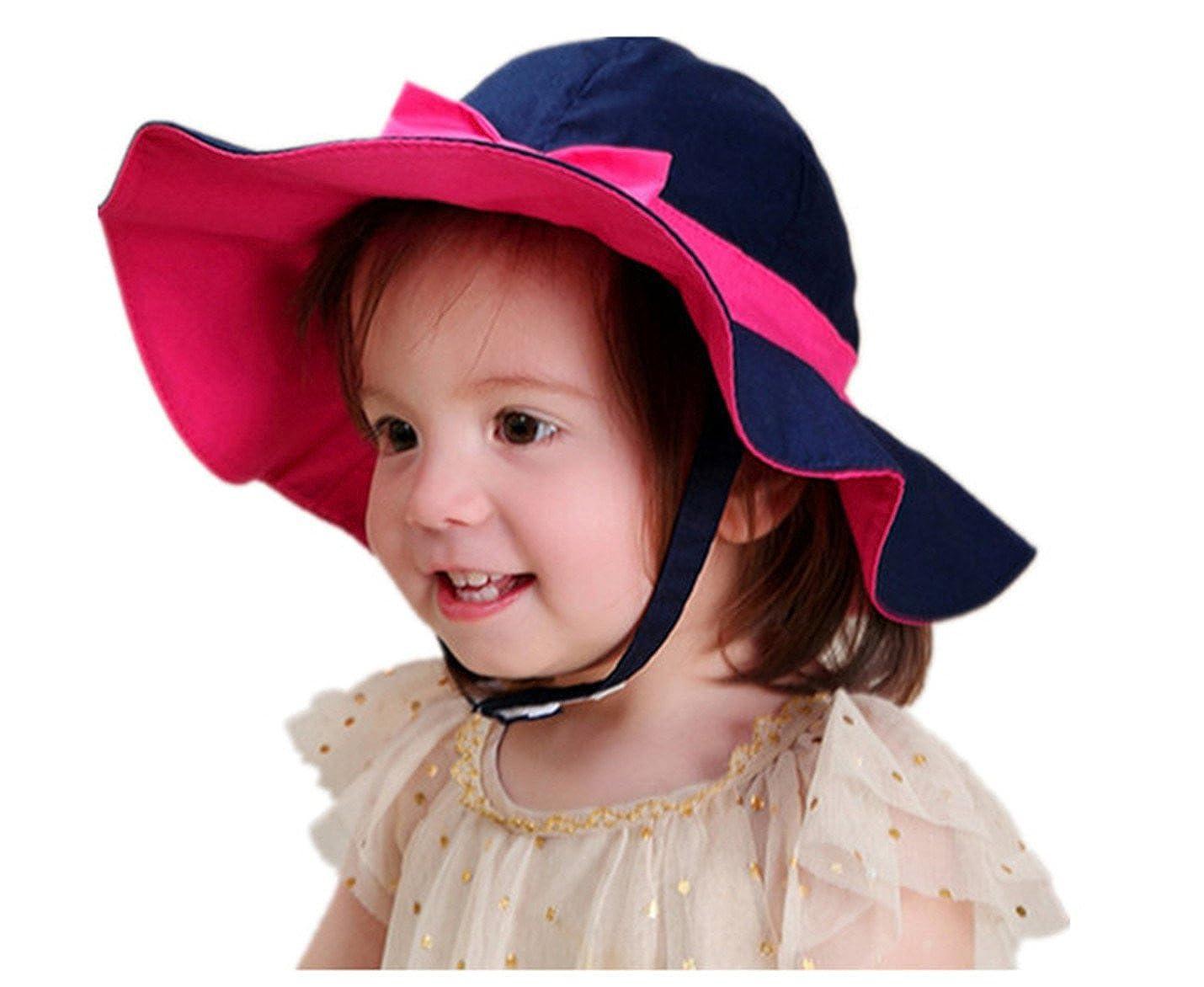 d813a88ebb2 RUHI Little Girls Beach Sun Protective Velcro Strap Cotton Floppy Hat(XL (  50-52CM)  Amazon.co.uk  Clothing