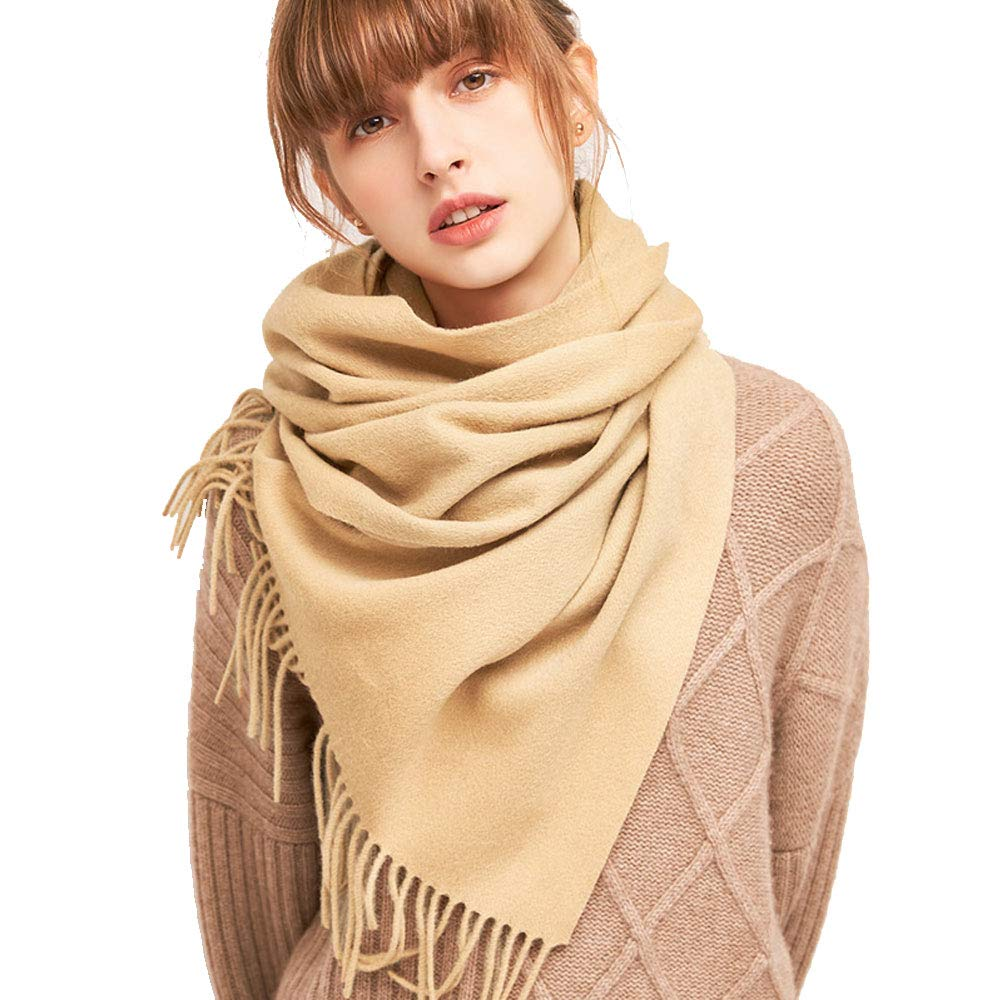 Camel QAR Autumn and Winter Solid color Wool Scarf Korean Students Winter Wild Small Shawl Dualuse Ladies Thick Bib Scarf (color   Light orange)