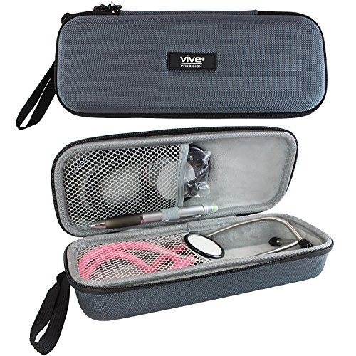 Vive Precision Stethoscope Hard Case - Protective Carry Cover with Handle - Fits Vive Precision and Other Cardiology Brands - Doctor and Nurse Accessories (Classic Gray)