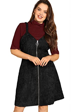 52205259110 Romwe Women s Plus Size Straps A-line Zipper Up Corduroy Pinafore Bib Overall  Dress Black