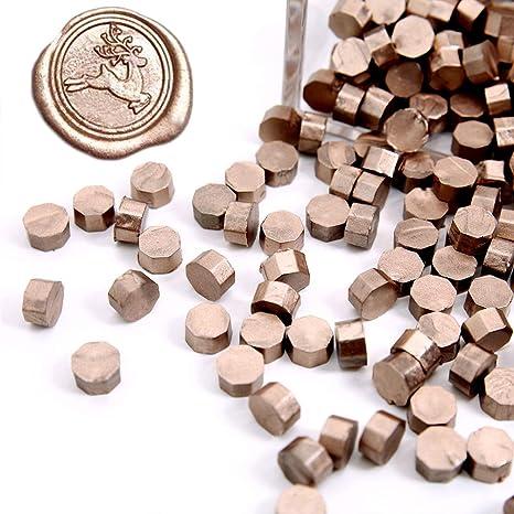 UNIQOOO Arts & Crafts - 180 piezas de perlas metálicas de cera selladas para sello de cera, ideal para adornar tarjetas sobres, invitaciones de boda, paquetes de vino, regalo de regalo: Amazon.es: