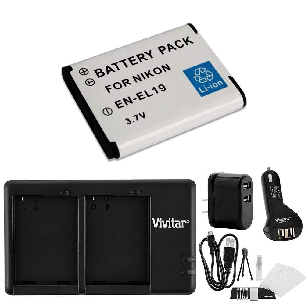 En - el19急速デュアルバッテリーUSB充電器( with ACと自動プラグ。もIncludes 1-pk大容量交換バッテリーとUltrapro Accessoryバンドル:クリーニングキット、スクリーンプロテクター、ミニ三脚 B013J7GXVU