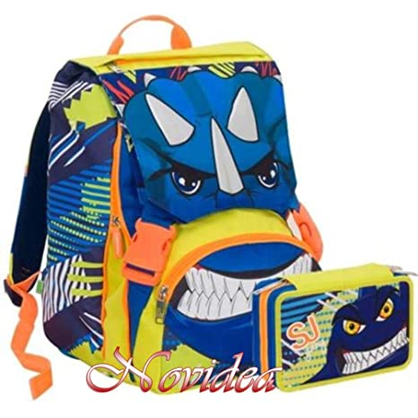 3ee025ef0c SCHOOL PACK ZAINO SEVEN SJ GANG BOY ANIMAL ESTENSIBILE BLU + ASTUCCIO 3 ZIP