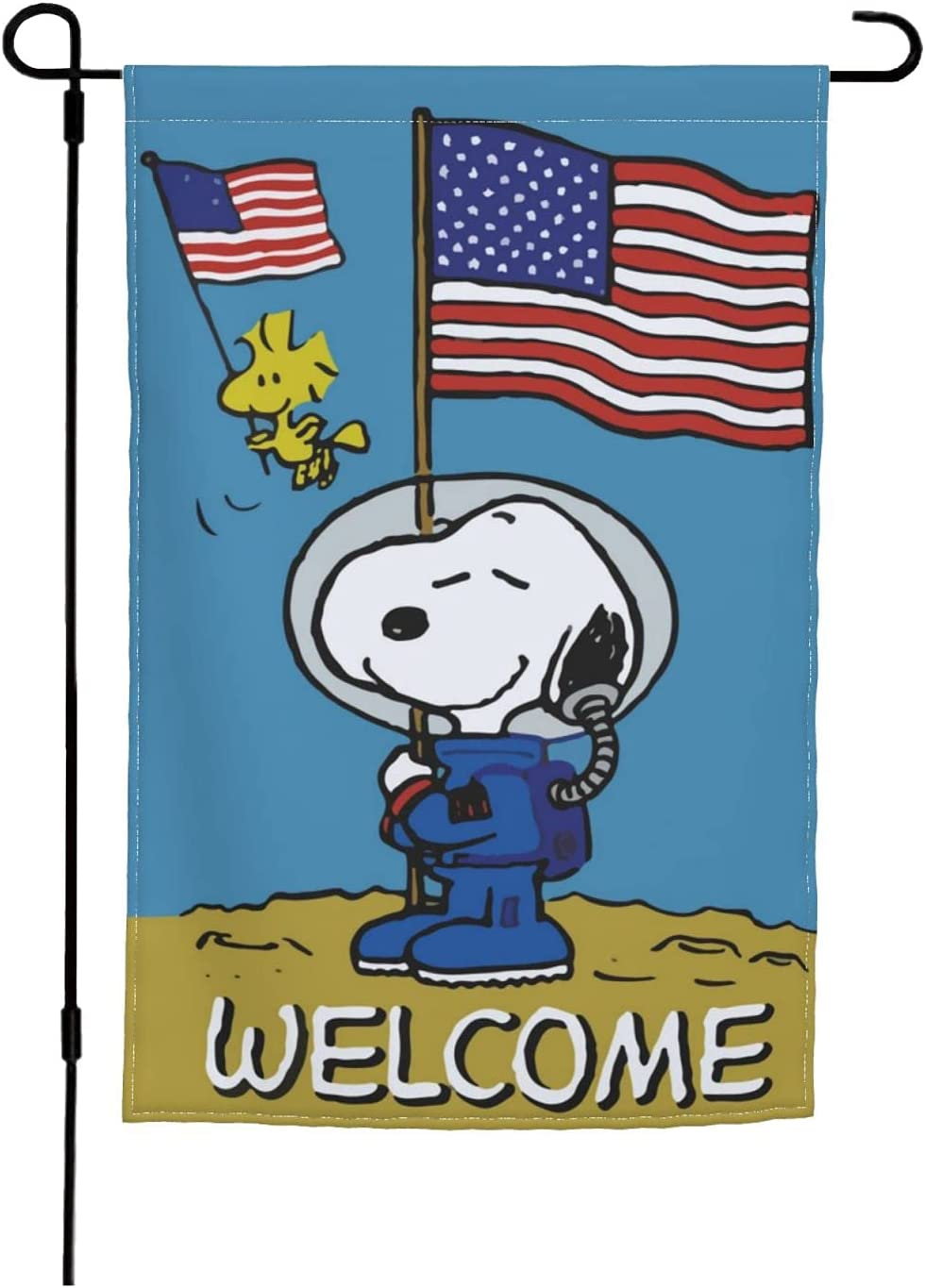 Snoopy America Patriotic Flag,Garden Flags for Home Outdoor/Indoor Yard Decoration,12 X 18 Inch,Double Sided