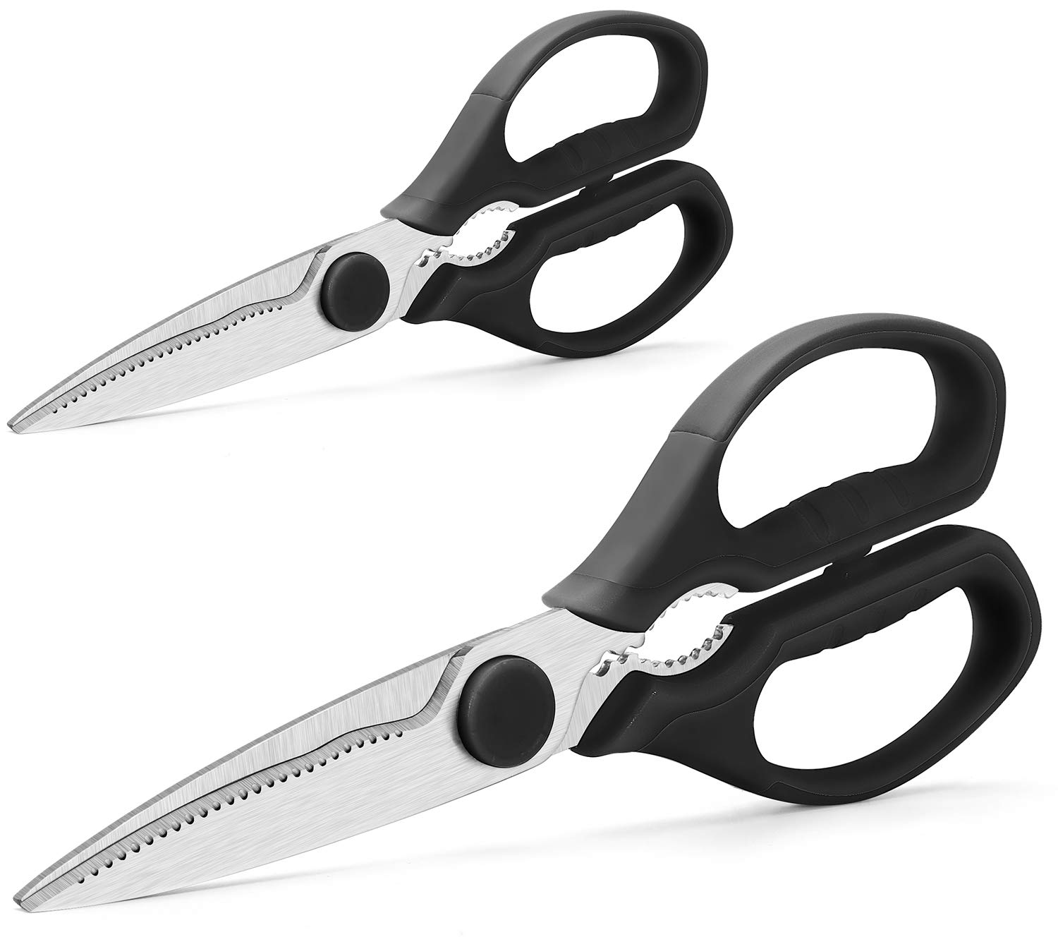 Multifunction Kitchen Scissors 2-Piece Set WELLSTAR, Heavy Duty Food Shears for Chicken Meat Vegetable Fish Herb Poultry Stainless Steel Cooking Scissors with Comfortable Handle Scissors Set (Black)