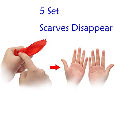 WSNMING 5 Sets Disappearing Silk Fake Thumb Tip Magic Trick Reality Magician Finger Thumb Tip with Red Silk Magic Props: Toys & Games