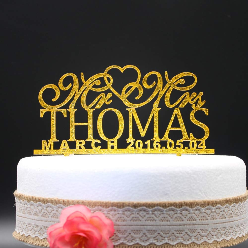 Cake Topper - personalized wedding cake toppers, custom name date mr mrs acrylic gold silver glitter wedding party decoration cake accessory