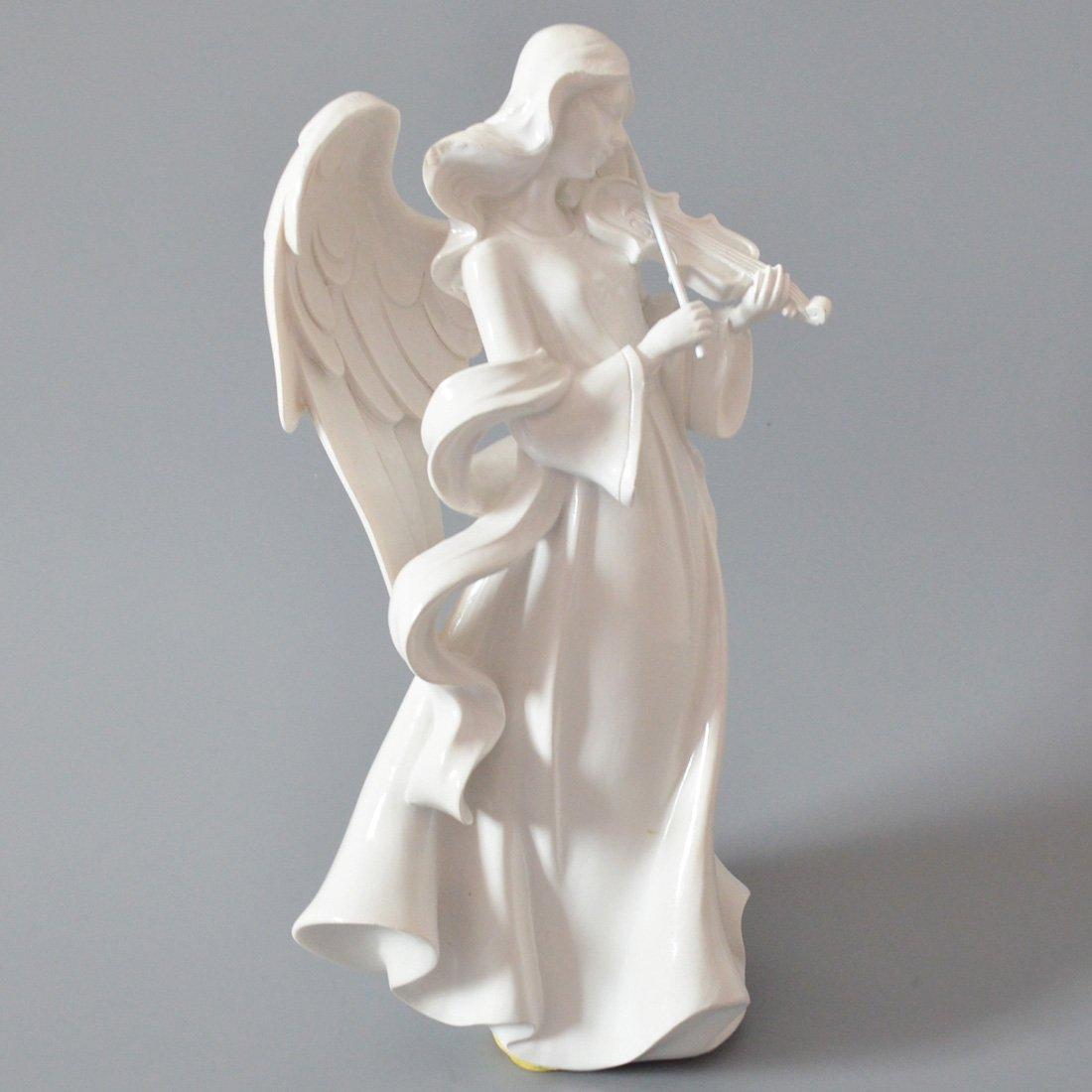 Giftgarden Sculpture Ange D/écorative Objet Deco avec Violon Blanche La Taille de la Statue est de 12.2x11x25.4cm