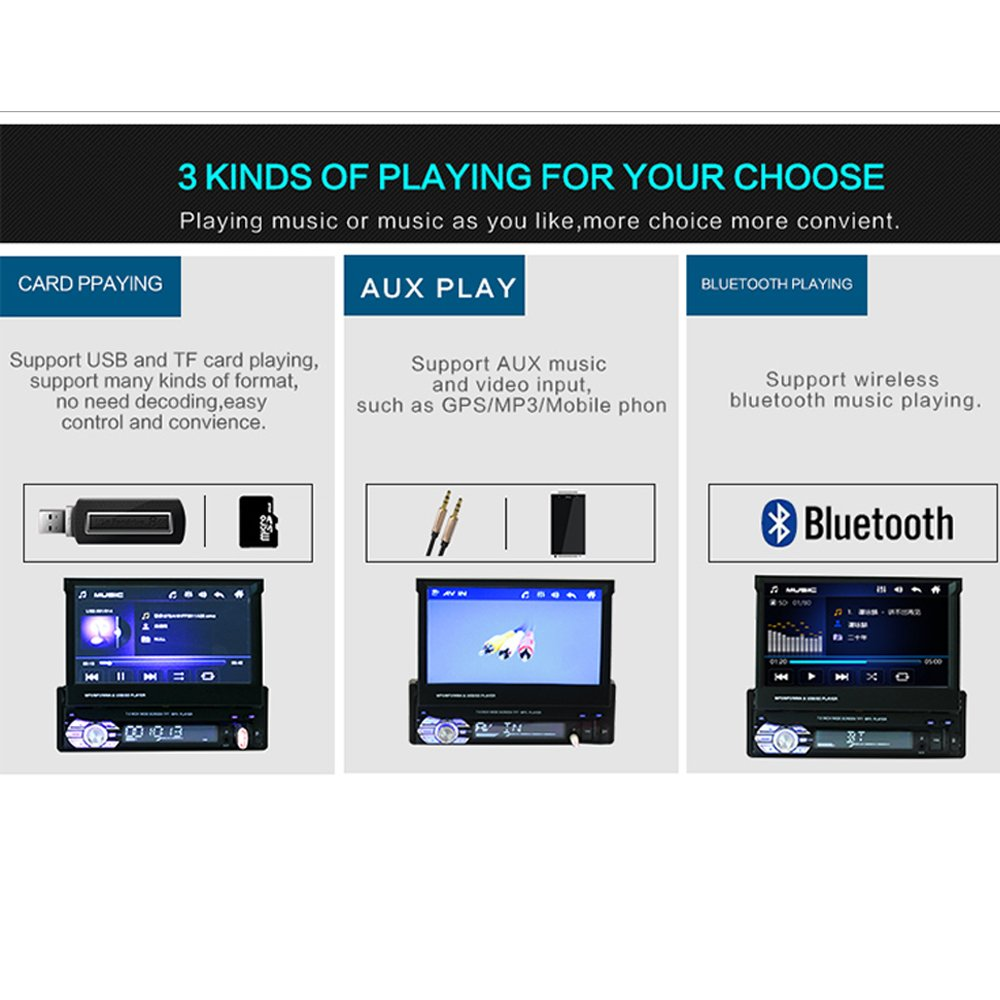 Amazon.com: Polarlander 1 Din 7 inch LCD Touch Screen Car Radio Player Support Bluetooth Hands Free 1080P Movie Rear View Camera: Sports & Outdoors