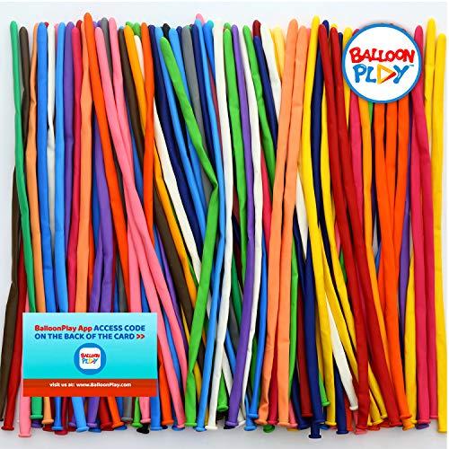 Balloon Animal Refills - BalloonPlay -100 Professional Long Balloons for Twisting, 100% Biodegradable, Natural Latex, Bonus App. Refill for Balloon Animal Kit, Packed Nozzle up.