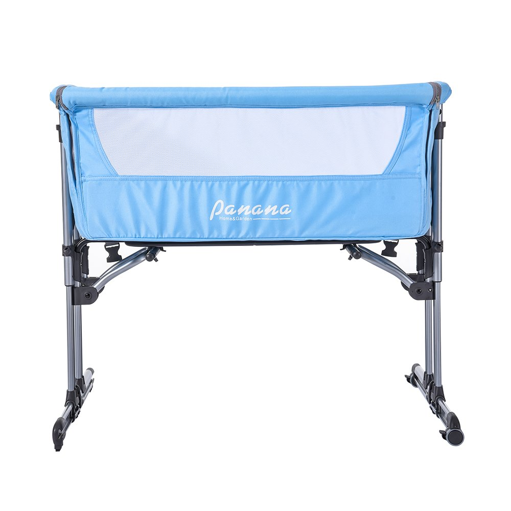 Furniture PANANASTORE Adjustable Baby Bed Side SleepingCrib Fixed & Swing Functionwith MosquitoNet &CarryBag Light Blue