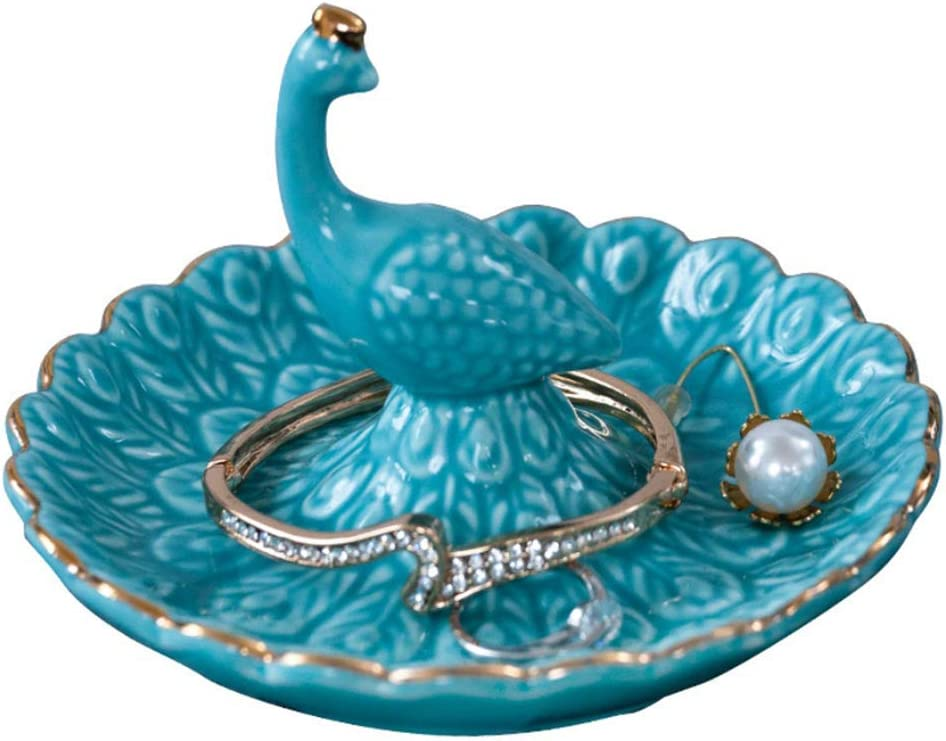 Peacock Jewelry Tray, Blue Trinket Dish,Women Girls Ring Holder, Birthday Christmas Valentine's Gifts Decor for Necklace Earring Bracelet, Suitable for Bathroom Kitchen Home