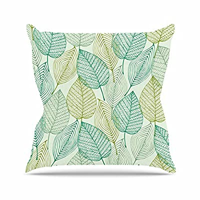 Kess InHouse Robin Dickinson Happy Trails Green Outdoor Throw Pillow, 16 by 16-Inch - Closed and stuffed with fluff for added comfort and durability Double Sided Print Polyester/Cotton woven blend - patio, outdoor-throw-pillows, outdoor-decor - 61bAksmpCKL. SS400  -