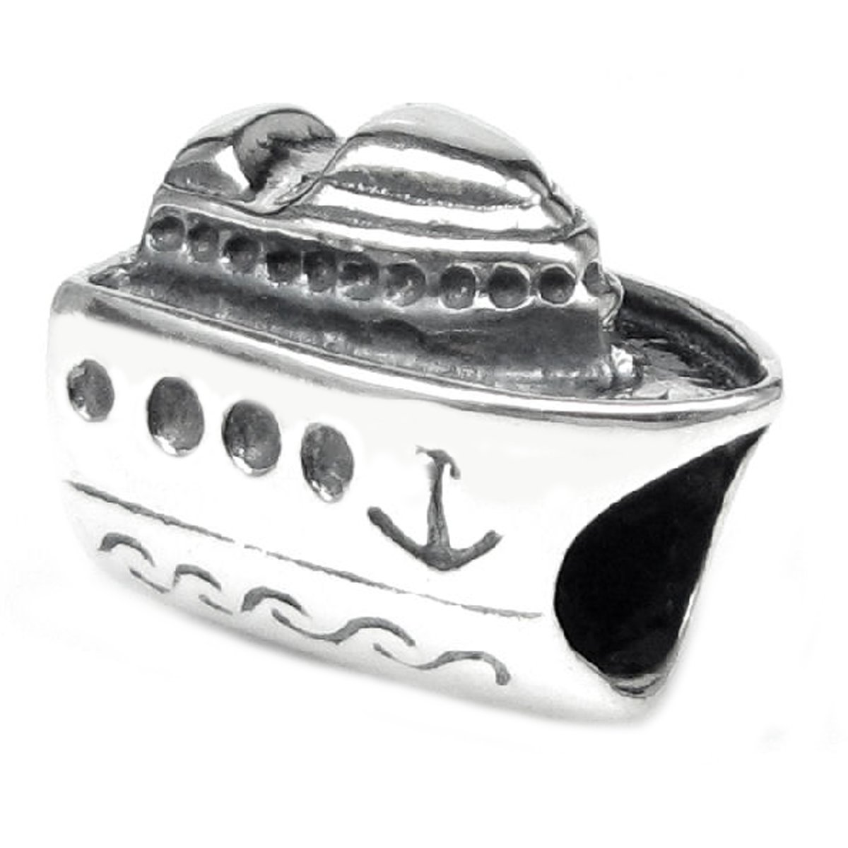 Sterling Silver 'Nautical Cruise Ship' European Bead Charm