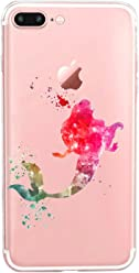 Girlscases® | iPhone 8 Plus / 7 Plus Hülle | Im Meerjungfrau Motiv Muster | in bunt | Fashion Case Transparente Schutzhülle aus Silikon