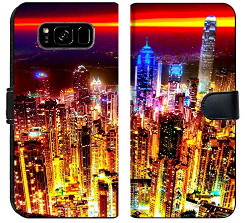 Samsung Galaxy S8 Plus Flip Fabric Wallet Case Image of Night City Skyline Sky Modern Skyscraper Downtown Cityscape Urban Building Tower Asia Business China Vie