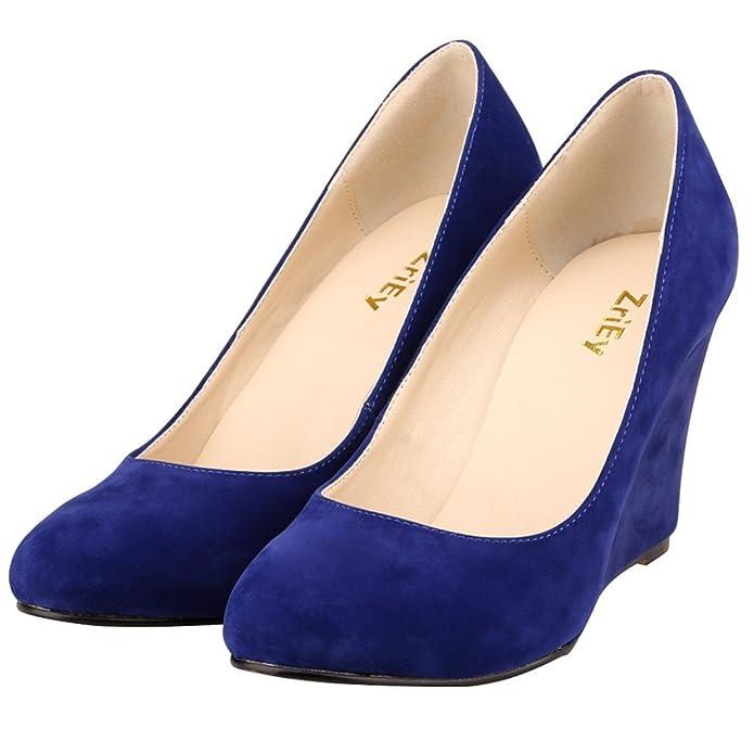 Xianshu Women Point Toe Shallow Mouth Shoes Wedge Heel Single Shoes Solid Color Pumps(Orange-42 EU) cFc5F