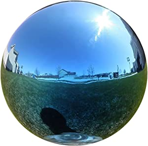 Lily's Home Stainless Steel Gazing Globe Mirror Ball, Colorful and Shiny Addition to Any Garden or Home. Blue. (12 Inch)