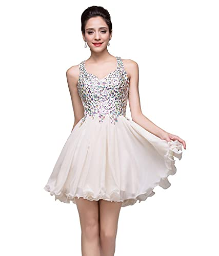 MisShow Juniors Short Crystal Chiffon Homecoming Prom Dress