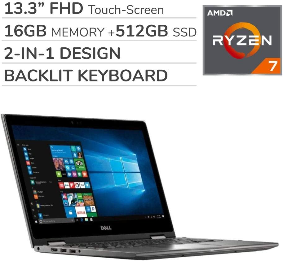 Dell 2-in-1 2019 Premium 13.3'' FHD Touch-Screen Laptop Notebook Computer, 4-Core AMD Ryzen 7 2.2 GHz, 16GB RAM, 512GB Solid State Drive, Backlit Keyboard, Wi-Fi, Bluetooth,Webcam, HDMI,No DVD,Win 10