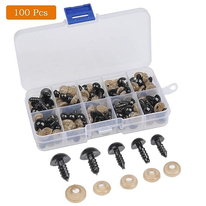 oso de peluche accesorios de ojos de peluche 6//8//9//10//12mm t/íteres de felpa de bricolaje FOCCTS 100pcs Ojos de seguridad de pl/ástico con arandelas de 100 piezas para mu/ñecas juguetes de peluche