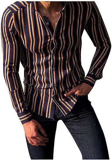 Camisa Hombre Slim fit Camisa a Rayas para Hombre Camisas Casual para Hombre Manga Larga Camisa Hombre Hawaiana Verano Hawaianas Manga Larga Casuales Camisa Playa Camisas Hombre Verano: Amazon.es: Ropa y accesorios