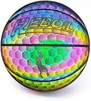 REBOIL Holographic Glowing Reflective Basketball – Light Up Holographic Composite Leather Toys for Kids Boys a