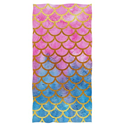 27acfdd76f6d Naanle Fantasy Beautiful Mermaid Scale Printed Luxury Soft Bath Towel  Highly Absorbent Large Hand Towels Multipurpose for Bathroom, Hotel, Gym  and Spa ...