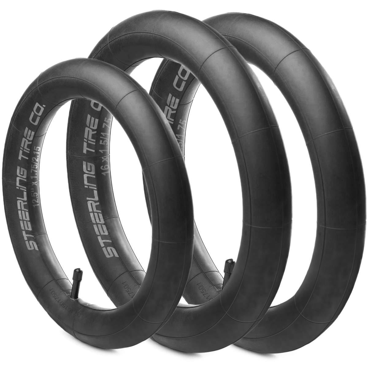 Steerling Tire Co Two 16'' x 1.5/1.75 R & One 12.5'' x 1.75/2.15 F Heavy Duty Thorn Resistant Inner Tire Tube For All BOB Revolution Strollers & Stroller Strides - Smart BOB Stroller Tire Set - 3 Pack