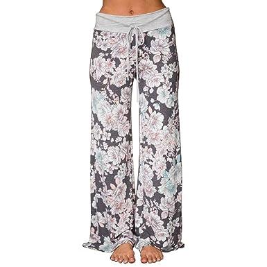 cf7e8b399f6c Women Floral Prints Drawstring Waist Wide Leg Flowy Pants Loose Yoga  Trousers Ladies Casual Summer Sports