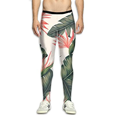 MSYGP Summer Hawaii Plants Compression Pants Men Colorful Tights Leggings Running Gym Tights For Men