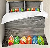 Easter Duvet Cover Set Queen Size by Lunarable, Colorful Ornate Eggs with Wooden Board Background Circles Dots and Flowers Pattern, Decorative 3 Piece Bedding Set with 2 Pillow Shams, Multicolor